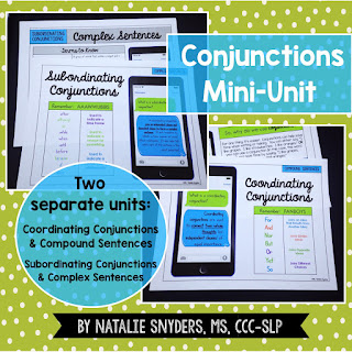 Conjunctions Mini Unit for Speech Language Therapy