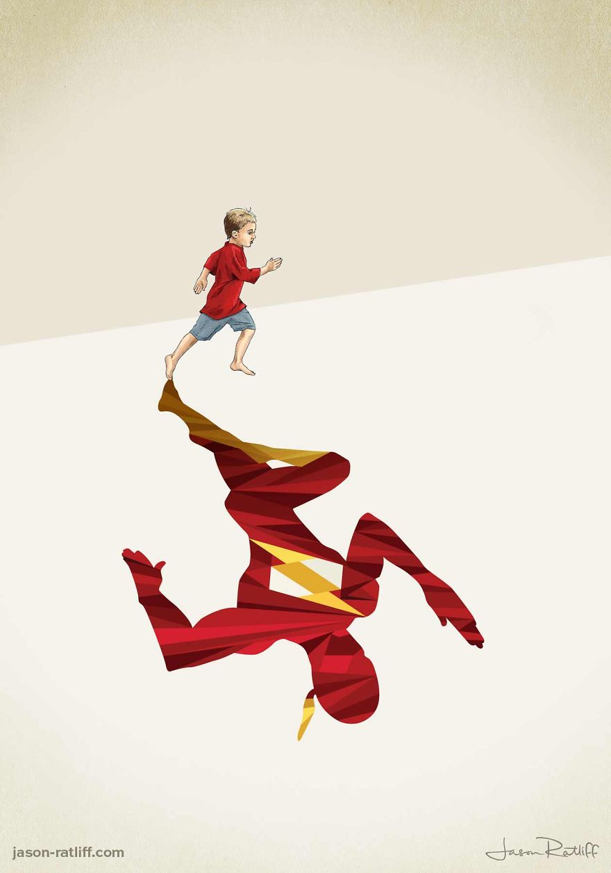 08-The-Flash-Barry-Allen-Jason-Ratliff-Comic-Book-Heroes-in-Super-Shadows-Illustrations-www-designstack-co