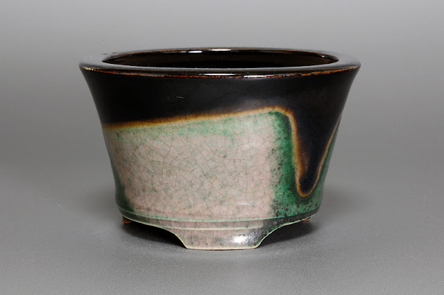 織部釉丸盆栽鉢(Oribe glaze bonsai pot)h1550