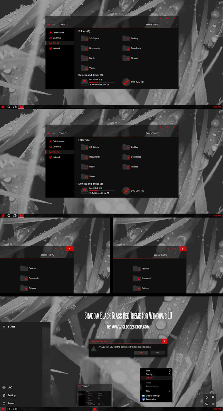 Shadow Black Glass Red Theme Windows10 November 2019 Update 1909