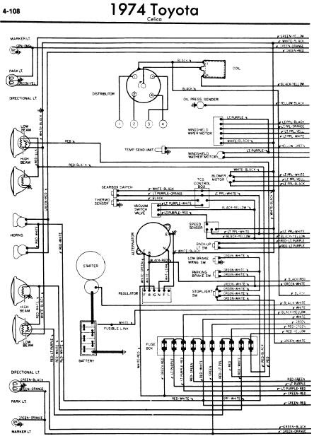 repairmanuals: Toyota Celica A20 1974 Wiring Diagrams