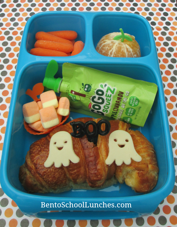 Ghost on croissant Halloween bento lunch, BOO
