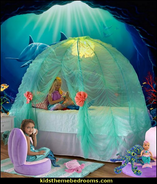 Under-the-Sea Bed Tent mermaid bedrooms underwater bedroom ideas - under the sea theme bedrooms - mermaid theme bedrooms - sea life bedrooms - Little mermaid princess Ariel - Sponge Bob theme bedrooms - mermaid bedding - Disney's little mermaid - clamshell bed - mermaid murals - mermaid wall decal stickers -