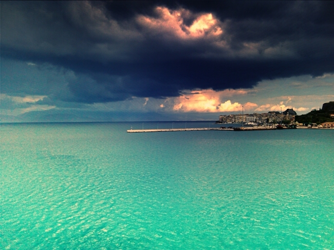 Corfu island rainy and cloudy weather