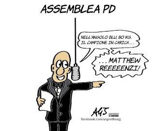 assemblea PD, renzi, segreteria, scissione pd, satira, vignetta