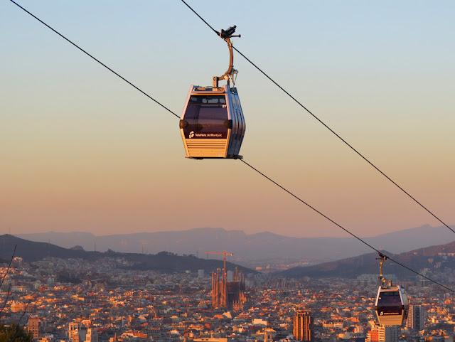Vista do teleférico de Montjuic