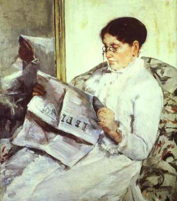 Mary Cassat, the Artist's Mother reading Le Figaro, 1878