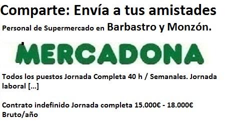 Lanzadera de Empleo Virtual Huesca, Oferta Mercadona Barbastro, Monzón