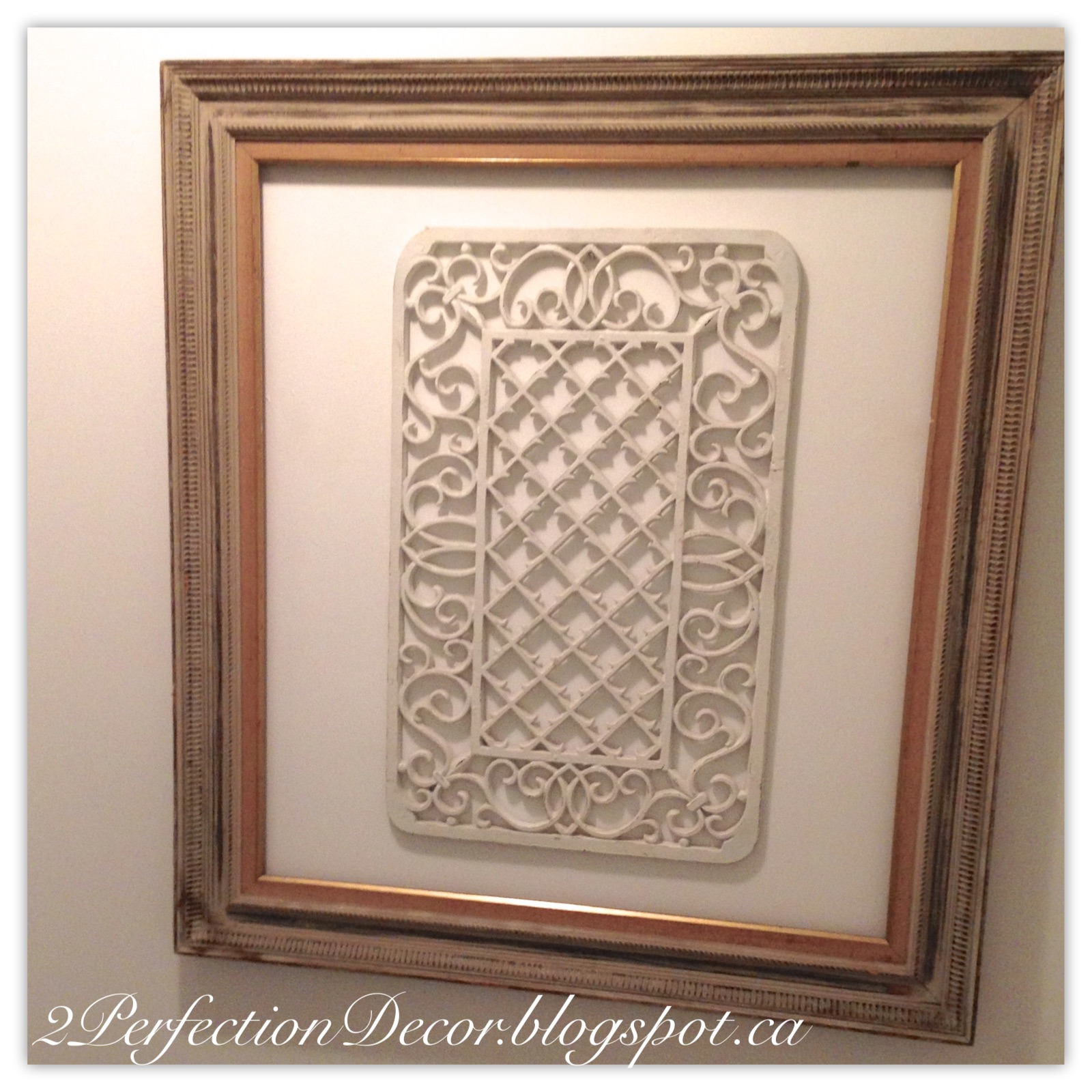 Luxury  make the wall piece ugrand er u Adding a simple frame around metal ornate grate helped fill the empty space on our Main Bathroom Wall