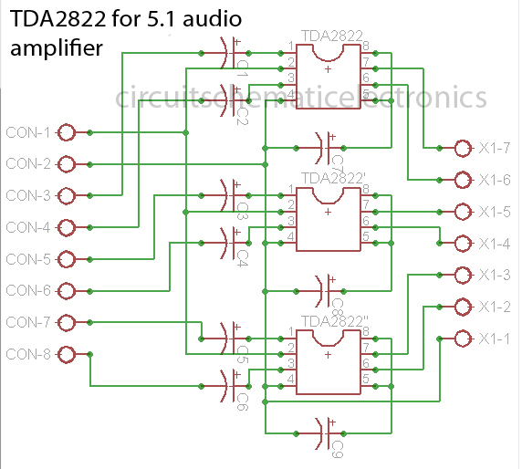 TDA2822 made for 5.1 audio amplifier system