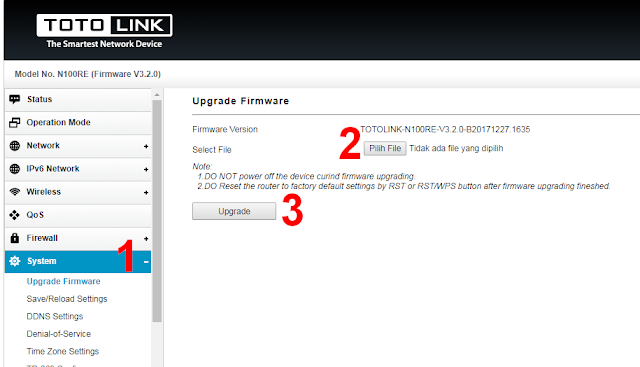 Upgrade Router Totolink N100RE Mode Client