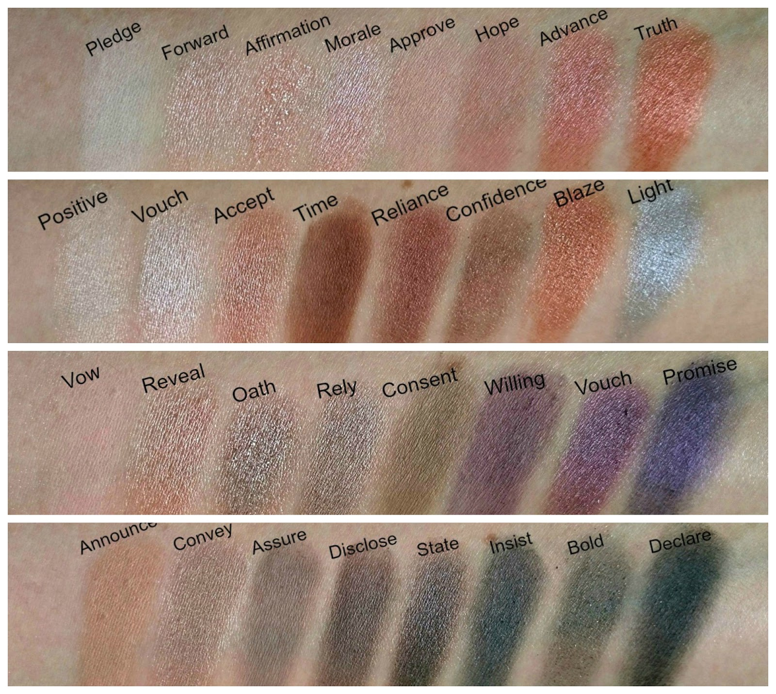 Makeup Revolution Affirmation palette swatches