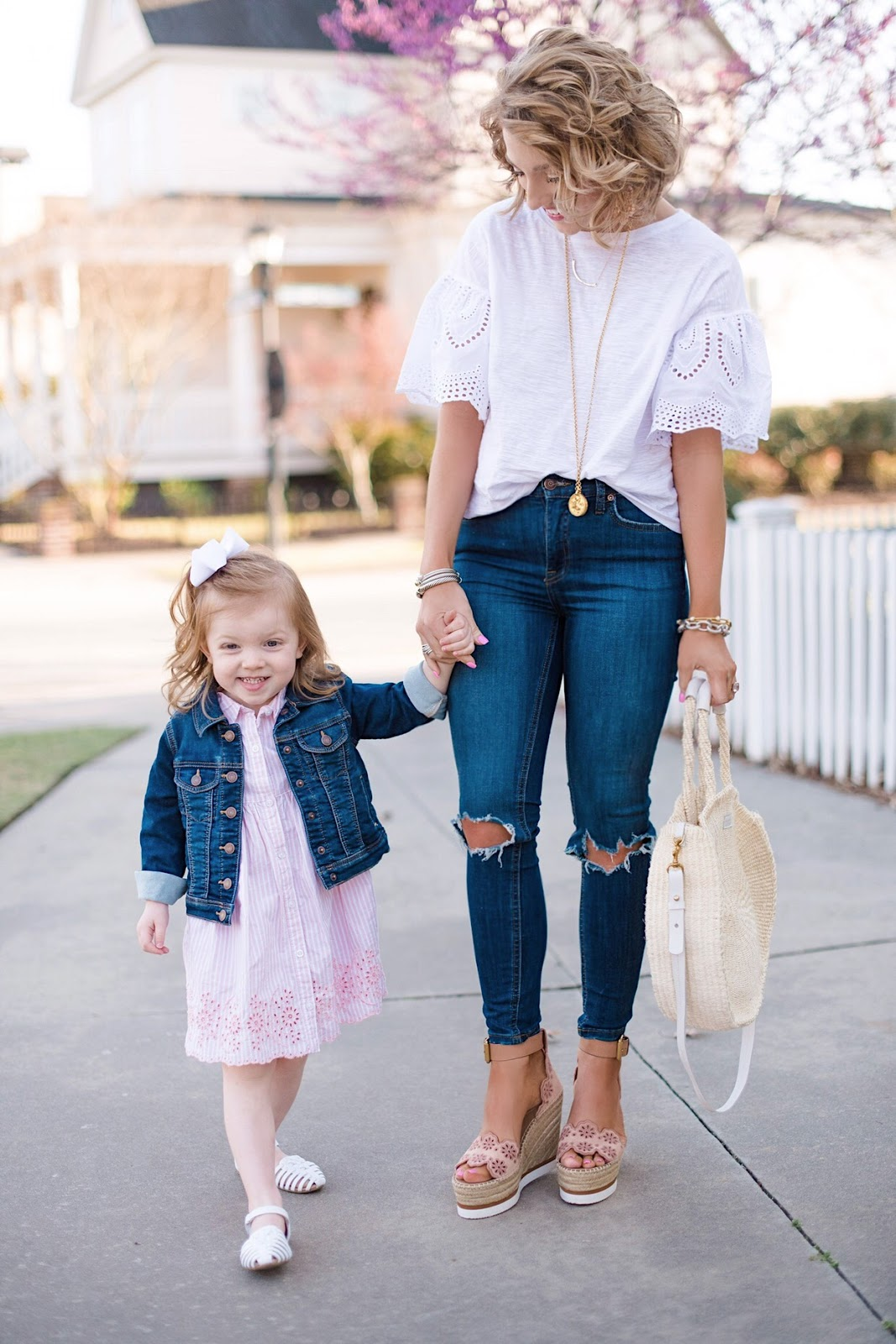 Mommy and Me in Eyelet - See more and find all the details on Something Delightful Blog