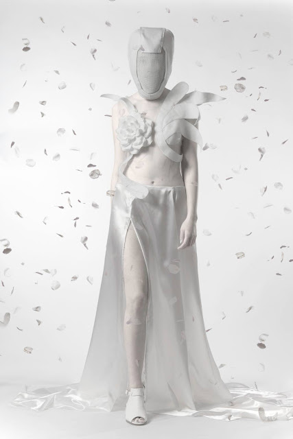 mystic magic, fashion, white, couture, dress, white dress, couture dress, rose petals, designer, hunger games, district 1, the capitol, futuristic, photography, fashion photography, high fashion, futuristic fashion, star trek, styling, avant garde, cage mask, editorial, mask, fantasy,