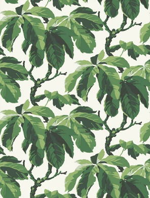 Greenery Pantone Colour of the Year 15-0343 Tropical Wallpaper