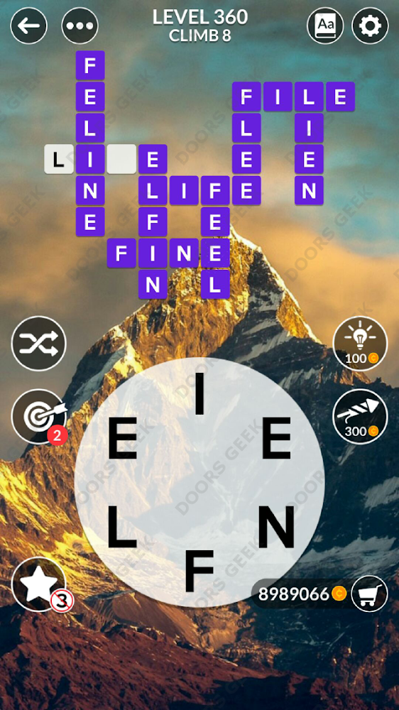 Wordscapes Level 360 answers, cheats, solution for android and ios devices.