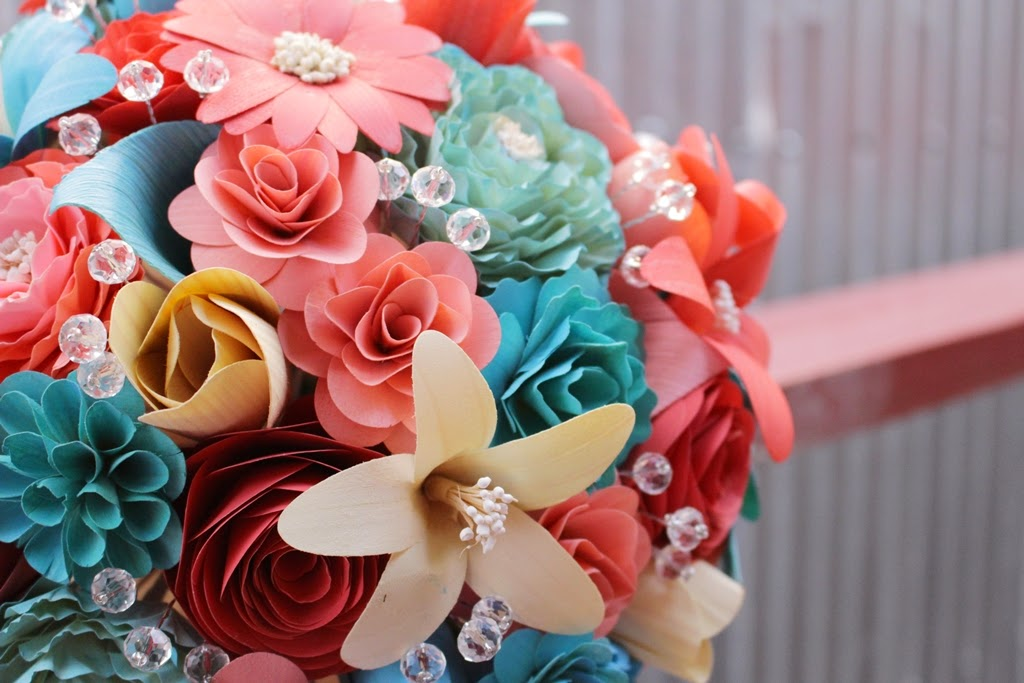 Coral And Turquoise Wedding: Turquoise And Coral Wedding: Wooden Flowers Painted With