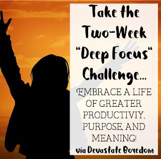"I'm doing it!  I'm going to meet my goals and finish my book!  Take the Two-Week ""Deep Focus"" Challenge and Embrace a Life of Greater Productivity, Purpose, and Meaning!  How to Get Rid of Procrastination, Distraction, and Social Media Addictions - Get Rid of Facebook (maybe??) and Change Your Life! via DevastateBoredom"
