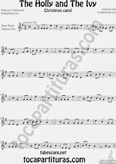 Partitura de Holly and The Ivy para Saxofón Soprano y Saxo Tenor Villancico Sheet Music for Soprano Sax and Tenor Saxophone Music Scores