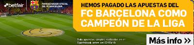 betfair paga las apuestas a que el Barcelona gana Liga 2018-2019