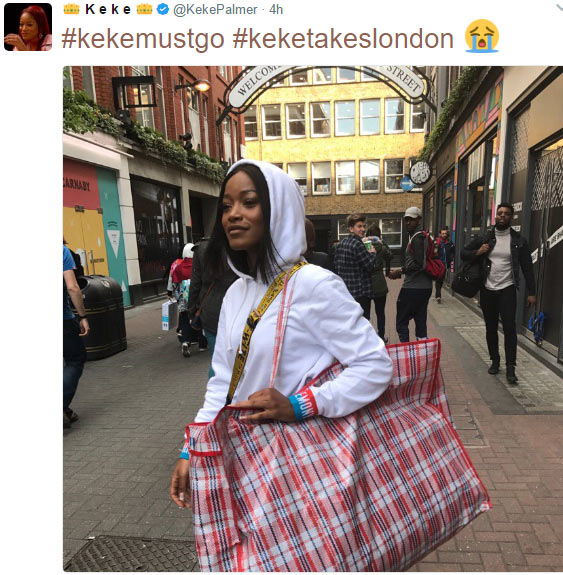 """Keke Palmer steps out in London carrying a """"Ghana Must Go"""" bag"""