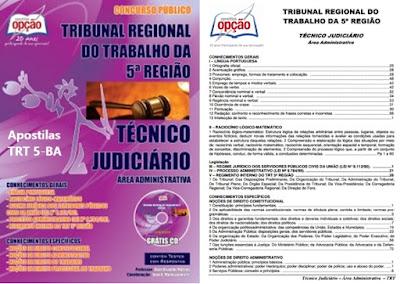 Apostilas Concurso do TRT 5-BA 201, para técnico e analista