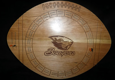 Splinters Woodworks: Custom Football Shape Oregon State Beavers Cribbage Board