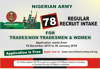 Nigerian Army 78RRI Recruitment Form Guidelines 2019/2020 [Trades/Non-Trades]