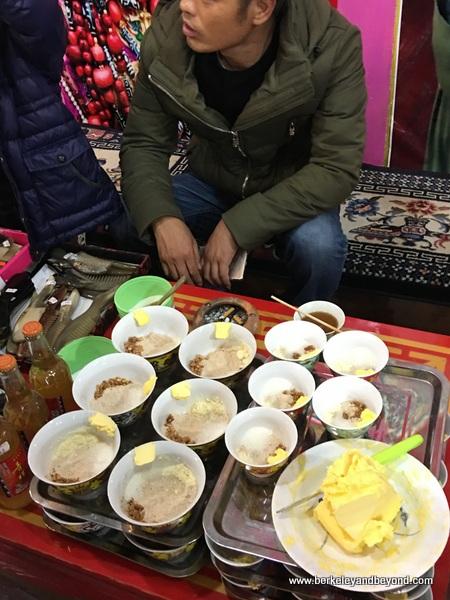yak butter tea in Tibetan village in Jiuzhaigou Valley in Sichuan Province of China