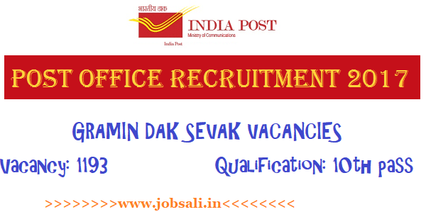 Post office GDS Online application form, Post office jobs for 10th pass, Post office Recruitment 2017