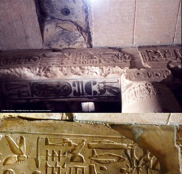 Estas impresionantes inscripciones y jeroglíficos se encuentra en una pesada piedra del templo de Seti I en Abydos. Muchos investigadores creen que en ella se representaron claras visiones de artefactos voladores que tuvieron los antiguos egipcios. ¿Cómo es esto posible?