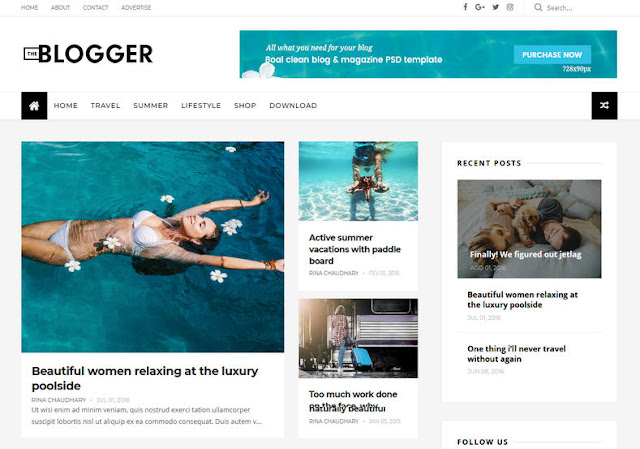 TheBlogger Blogspot Template Free Download 2019