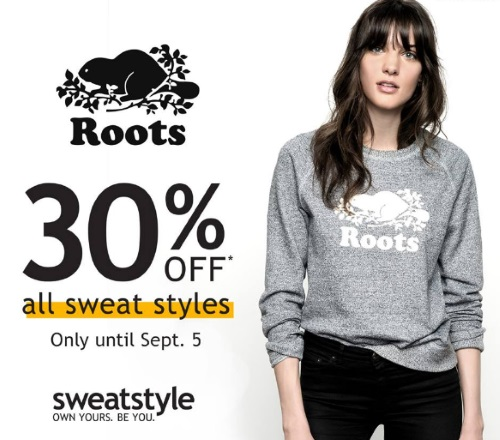 Roots 30% Off All Sweat Styles Sale