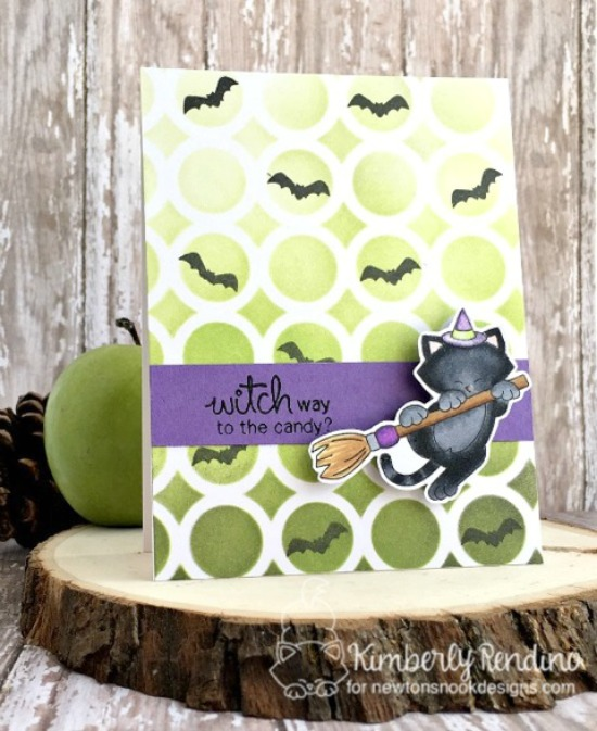 Halloween cat card by Kimberly Rendino | Newton's Boo-tiful Night Stamp set by Newton's Nook Designs #newtonsnook #halloween