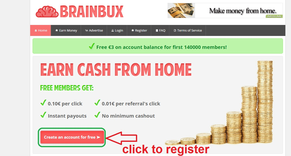 Earn money from Brainbux 0 10 € per click , get 160 euro per day