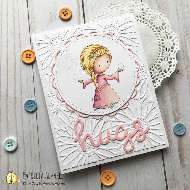 card using snow princess digital stamp from Kinda Cute by Patricia Alvarez