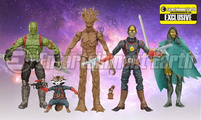 Entertainment Earth Exclusive Guardians of the Galaxy Comic Book Edition Marvel Legends Action Figure Box Set - Star-Lord, Gamora, Drax, Rocket Raccoon, Groot and Baby Groot in a Pot