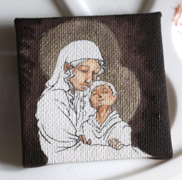 WIP peinture vierge à l'enfant miniature - la peau