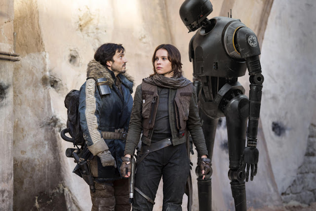 "Diego Luna, Felicity Jones, and Alan Tudyk in ""Rogue One: A Star Wars Story"""