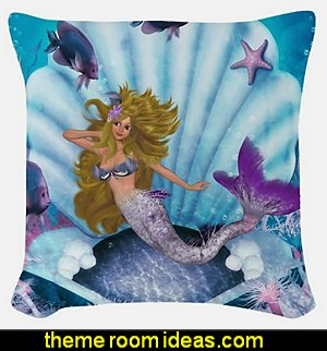 Merrow Mermaid Woven Throw Pillow underwater bedroom ideas - under the sea theme bedrooms - mermaid theme bedrooms - sea life bedrooms - Little mermaid princess Ariel - Sponge Bob theme bedrooms - mermaid bedding - Disney's little mermaid - clamshell bed - mermaid murals - mermaid wall decal stickers -