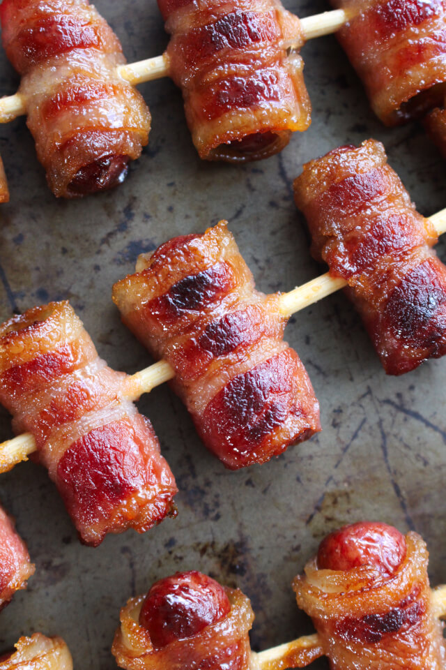 Brown Sugar Bacon Wrapped Smokies are a 3-ingredient appetizer that's always the first to disappear!  If you're making them for a party, I suggest a double batch.