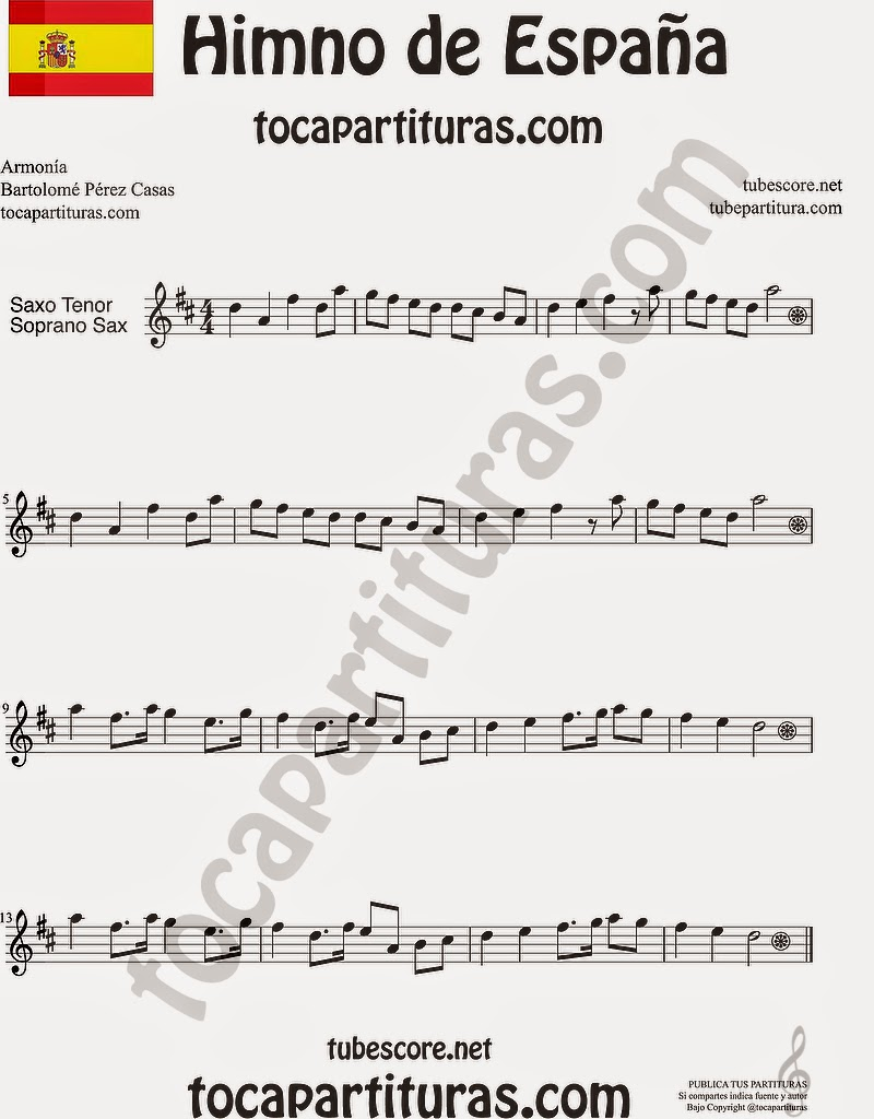 Himno Nacional Español Partitura de Saxofón Soprano y Saxo Tenor Sheet Music for Soprano Sax and Tenor Saxophone Music Scores