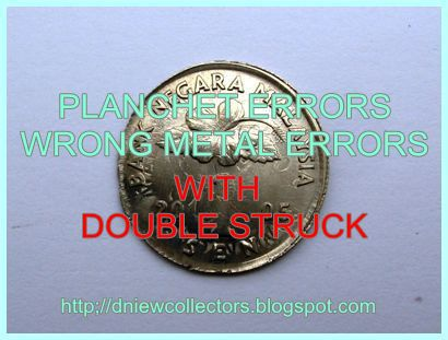 MALAYSIA COINS PLANCHET ERRORS:WRONG METAL ERRORS WITH