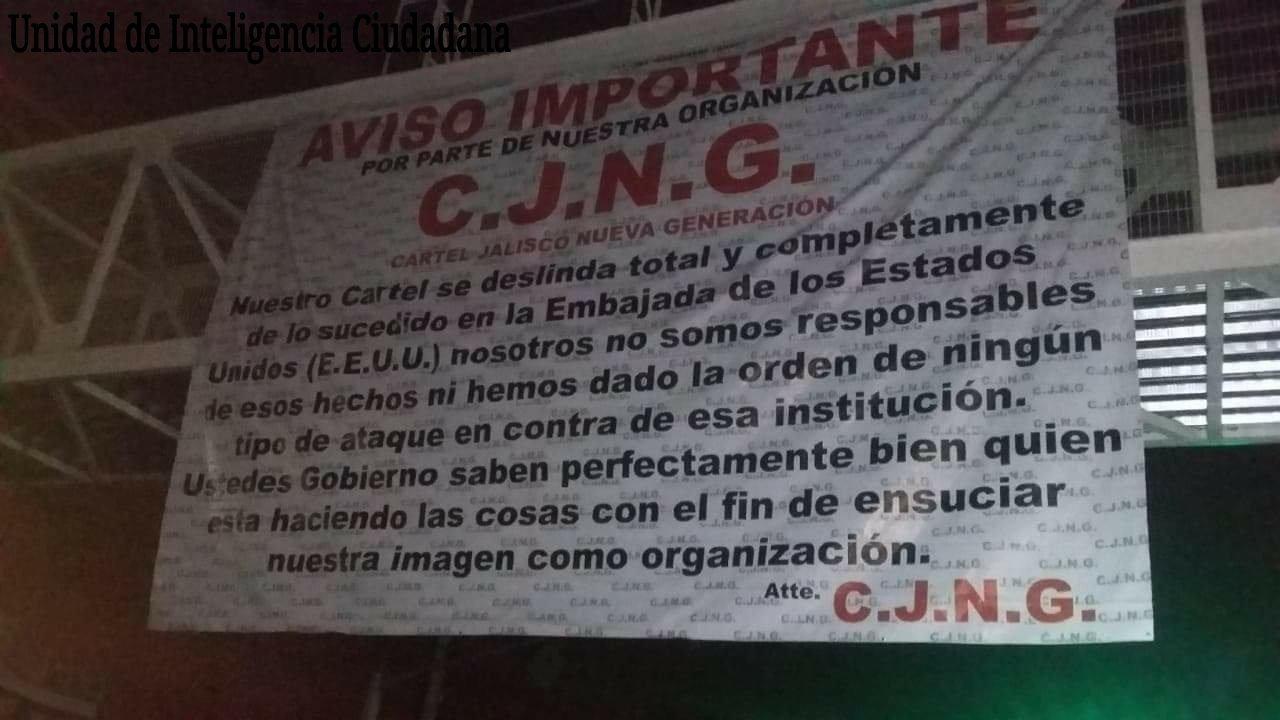 """Comunicado, """"El Mencho"""" y el CJNG se deslidan de Granadazos a embajada gringa"""