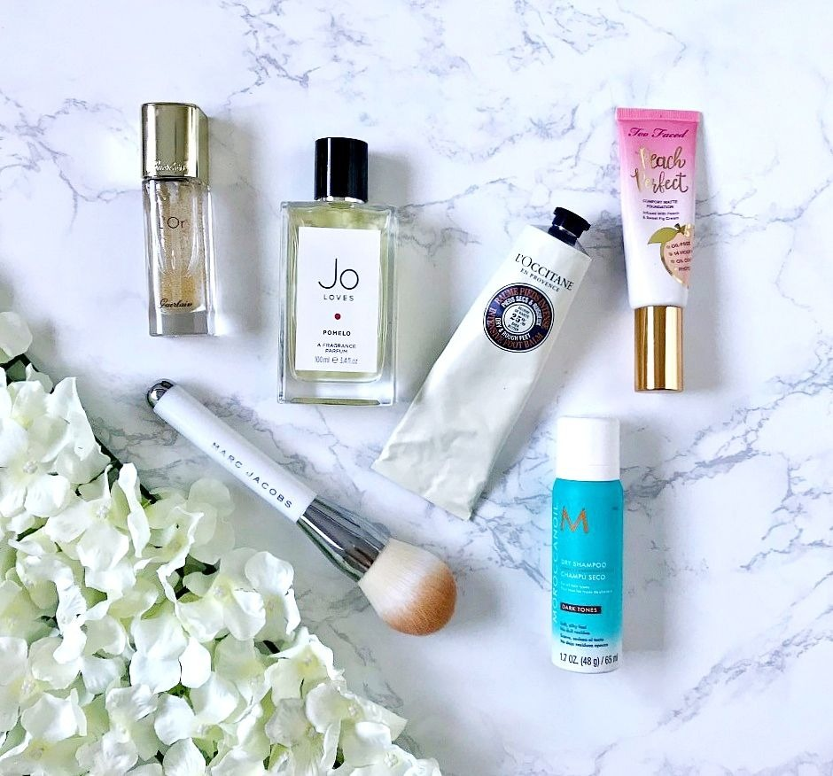 Jo Loves, L'Occitane Intensive Shea Foot Balm, Marc Jacobs Bronzer Brush, Moroccanoil Dry Shampoo, Too Faced Peach Perfect Foundation, Guerlain L'Or Radiance Concentrat