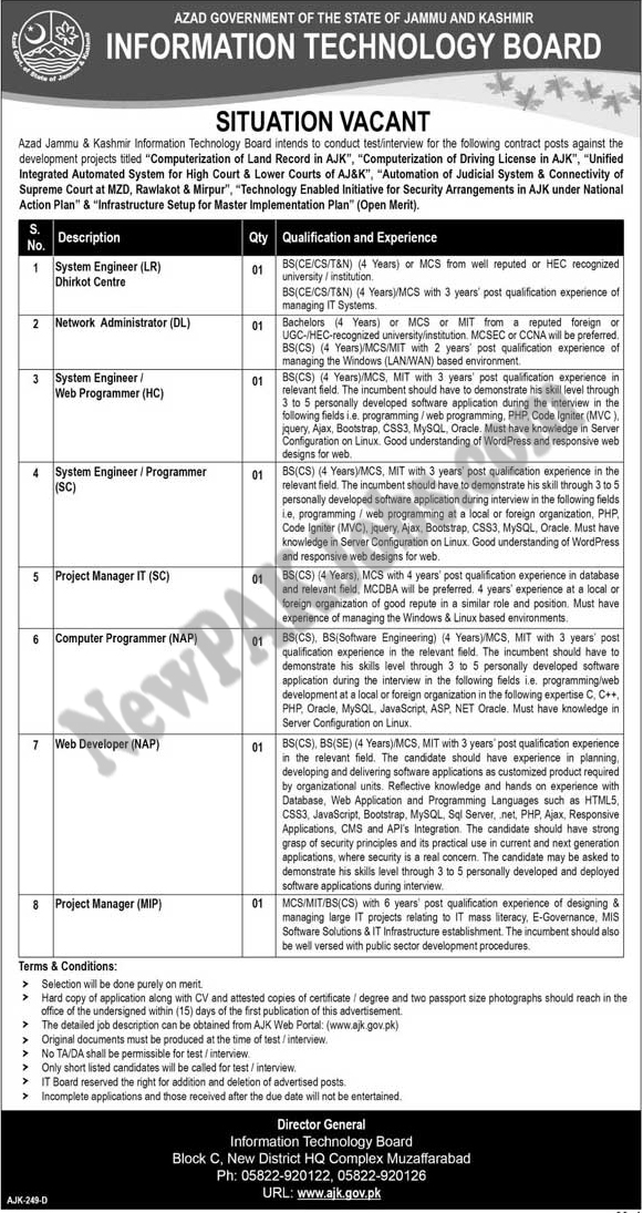 Jobs in Information Technology Board Azad Jammu and Kashmir