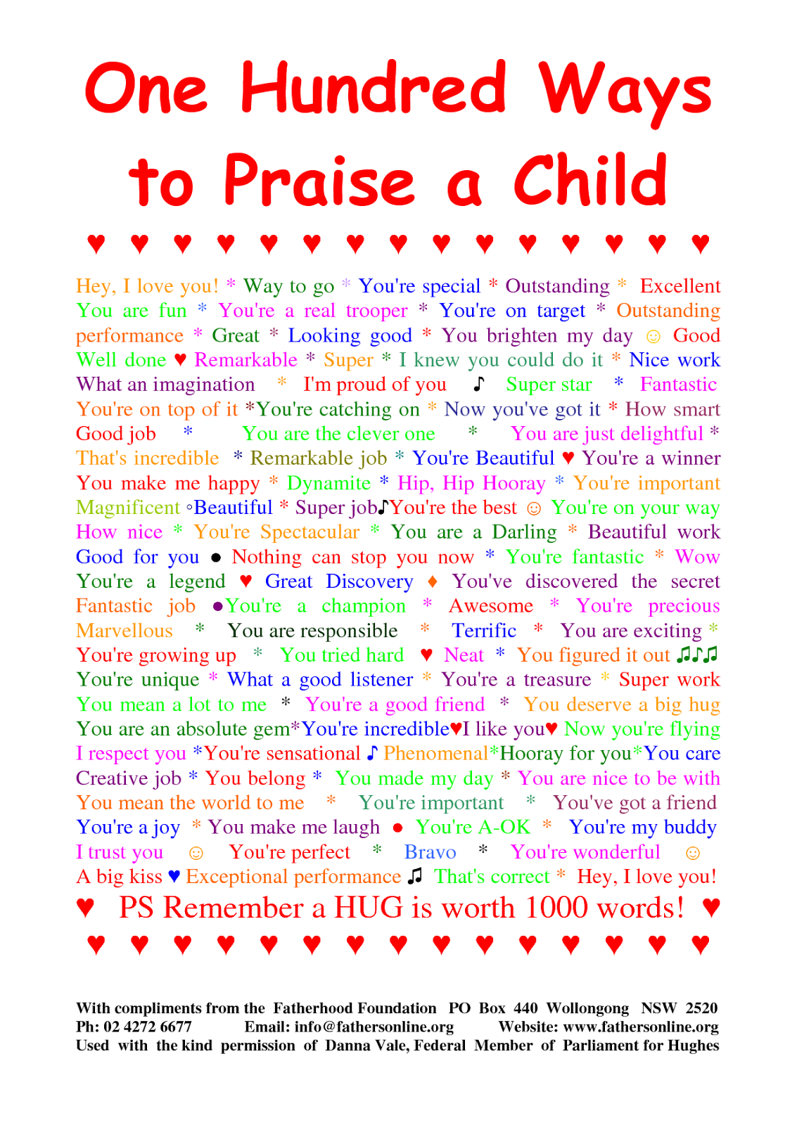 Ago my mil sent us a magnet with 101 ways to praise a child on it and