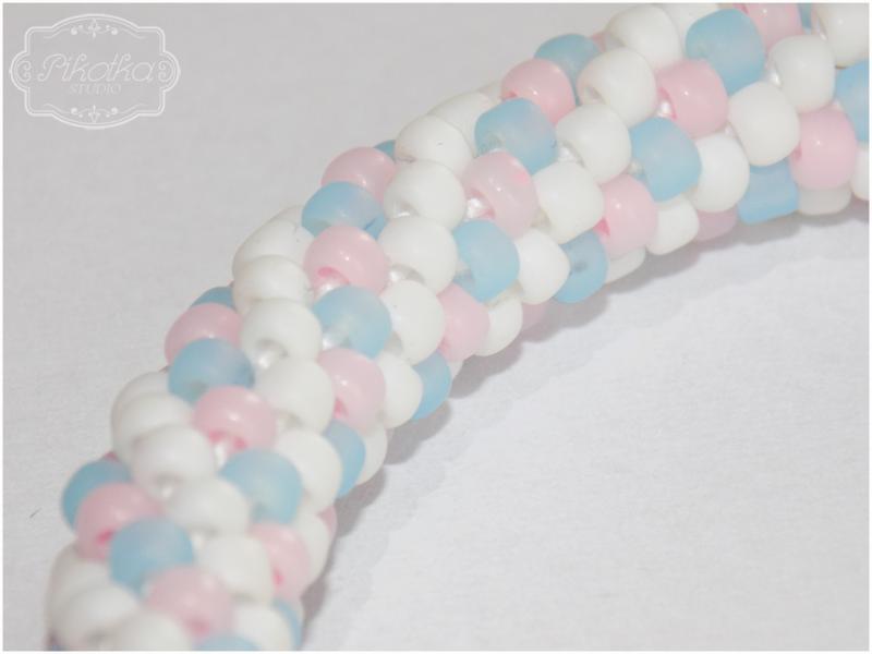 sznur szydełkowo-koralikowy, crochet bead, bransoletka, biżuteria, rękodzieło, handmade, szydełko, koraliki toho, pastele, bracelet, jewellery