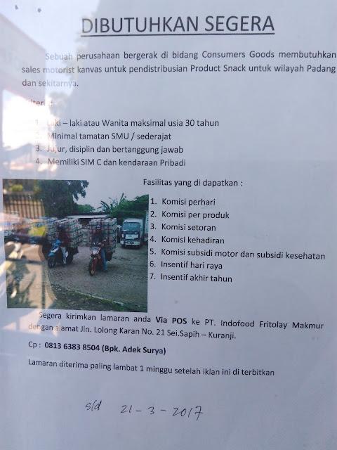 Lowongan Kerja Padang: PT. Indofood Fritolay Makmur Maret 2017