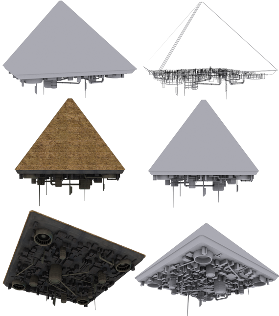 giza pyramid spaceship 3d model free download stargate egypt khufu cheops necropolis Seven Wonders of the Ancient World pyramid-shaped meewtoo scifi sci-fi original vessel star base